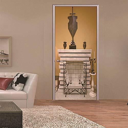 Türaufkleber Vintage Russischen Kamin Für Wohnzimmer Schlafzimmer Selbstklebende Tapeten Renovierung Tür Aufkleber Neue Tür Wandbild 77x200cm