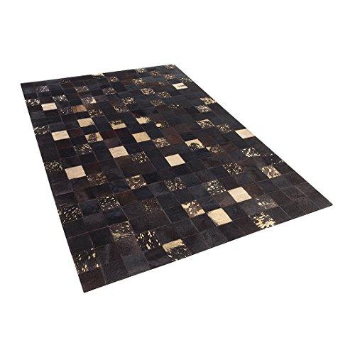 Beliani Tappeto Design–Pelle di Mucca–140x 200cm–Marrone–bandirma