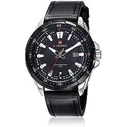 NAVIFORCE New Men Quartz Hour Date Clock Men Casual Sports Watches Men Leather Wrist Military Watch (Silver/Black)