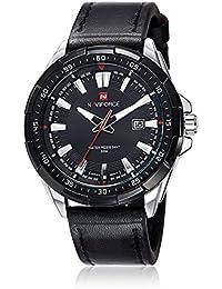 NAVIFORCE cuarzo de los hombres de los hombres ocasionales Deportes Relojes de pulsera de cuero Reloj Militar (Plata/Negro)