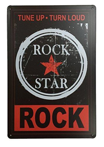 Rock STA Tune Up Turn Loud Blechschild Metall Neuheit Retro Vintage Blechschild Wandschild 20x 30cm Deko Schild–Ideal für Pub Bar Office Home Schlafzimmer Esszimmer Küche–Cool Classic Shabby Chic Geschenk (Lounge Rock-star)