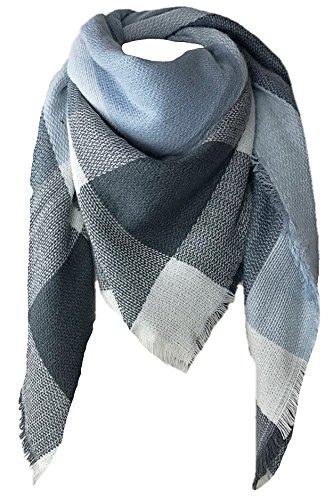 CAPRIUM XXL Damen Schal Kariert übergroßer quadratisch Deckenschal Karo Tartan Streifen Plaid Muster Oversized Fransen Poncho (Blaugrau)