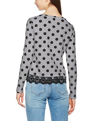 ONLY Damen Sweatshirt Onlcammi L/S Lace Mix Swt Mehrfarbig (Light Grey Melange AOP:Black Dots)