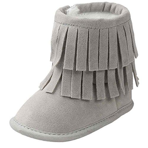 Saingace Krabbelschuhe boots 0 ~ 18 Monate Baby-Warmhalte Double-deck Quasten weiche Sohle Snow Boots Soft-Krippe Schuhe Kleinkind Stiefel Grau