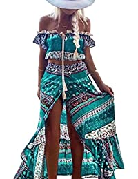 Vestido largo Amlaiworld Mujeres De hombro Bohemio Impreso de largo vestido Conjunto