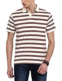 Classic Polo Maroon Striped Polo T-shirt For Men
