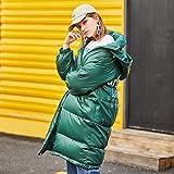 GUXIU Daunenmantel Frauen Winter 90% weiße Daunenjacke Frauenkleidung mit Kapuze Mode lang,Grün,L