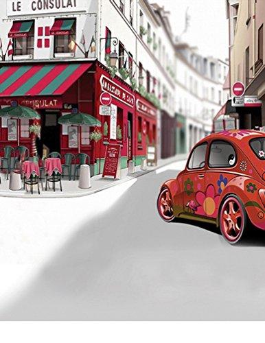 h Stadt Blick Auf Die Straße Geschäft Autos Straßenschild Tapete Vinyl-Stoff Studio Fotografie Kulissen ()
