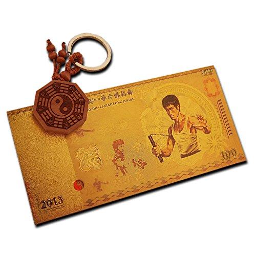 Bruce Lee vergoldet Banknote GEDENKMÜNZE Martial Arts Geschenk Tribute to legendären Bruce Jahrestag mit Yin & Yang Schlüssel Ring MMA Kämpfer -