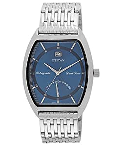 Titan Blue Dial Men's Retrograde Dual time Watch - 1680SM02