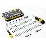 nuzamas 65-in-1Präzisions-Schraubendreher und Steckdosen Set inkl. 52Bits Schraubendreher 9Bits Schlüssel Sockets Kit für Handys, Tablets, PC, MacBook, Uhren, Brillen, Kameras