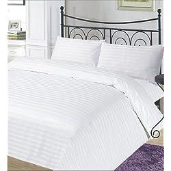 RAYYAN LINEN 'GC lino juego de funda de edredón de rayas de satén de algodón egipcio color blanco hilos/tamaño cama individual | funda de edredón + one funda de almohada
