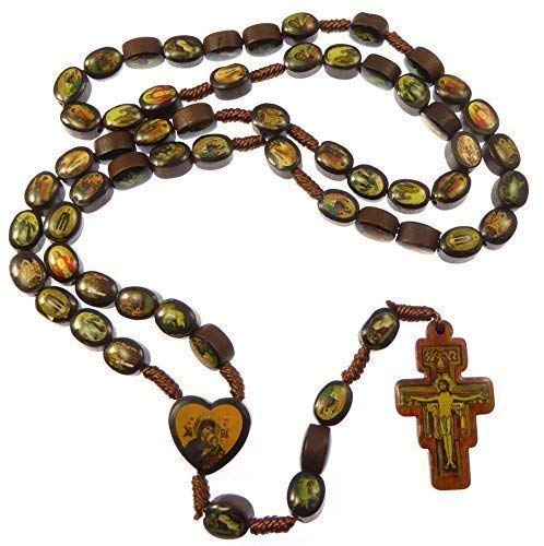 Braun holz Heilige rosenkranz St. Francis von Assisi kruzifix Holz Jesus Mary
