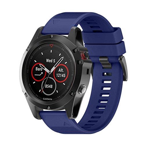 Signore orologio digitale,sonnena orologio da uomo orologio sport donna fitbit sostituzione cinghia di gel silice installazione rapida cinturino per orologio garmin fenix 5x gps (blu scuro, standard)