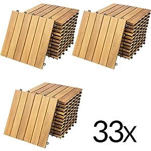 Deuba Piastrelle in legno di acacia 33pz Certificato FSC Mattonelle 3m² sistema ad incastro 30x30cm giardino terrazza balcone piscina sauna pavimentazione