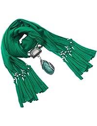 Lureme® color sólido estilo bohemio de la vendimia con el resina gota de agua borlas de piedra bufanda collar (01003059-6) (verde)