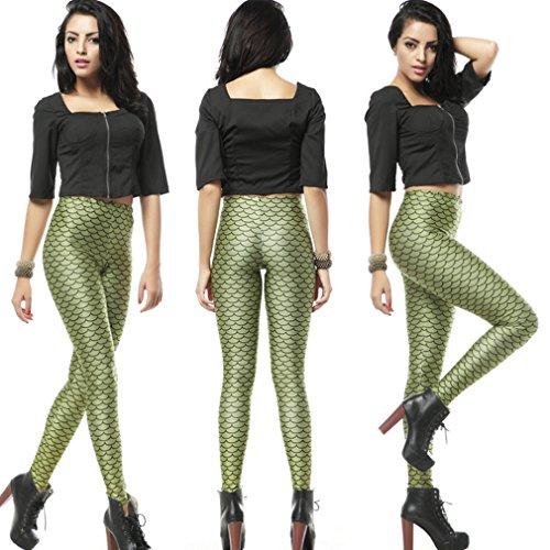 Thenice Leggings extensible Pour femme Impression numérique Vert - Mermaid