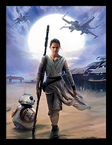 l Star Wars Episode VII (Rey-Desert) 30x40 cm gerahmter Druck, 250GSM PAPERWRAP MDF, Mehrfarbig, 44 x 33 x 4 cm ()