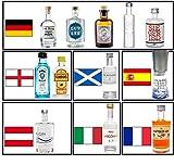 Gin Mini Set Probierset Weltreise 12 Gins aus aller Welt - Monkey 47, Siegfried, Luv & Lee, The Botanist, Bombay Sapphire, Saffron, Gin Mare, Poli Marconi 46, Organic Gin etc.