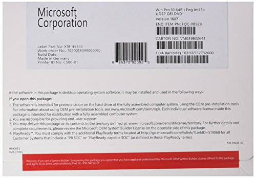 Microsoft Windows 10 Pro - Sistemas operativos (Original Equipment Manufacturer (OEM), Inglés, 800 x 600 Pixeles, DVD)
