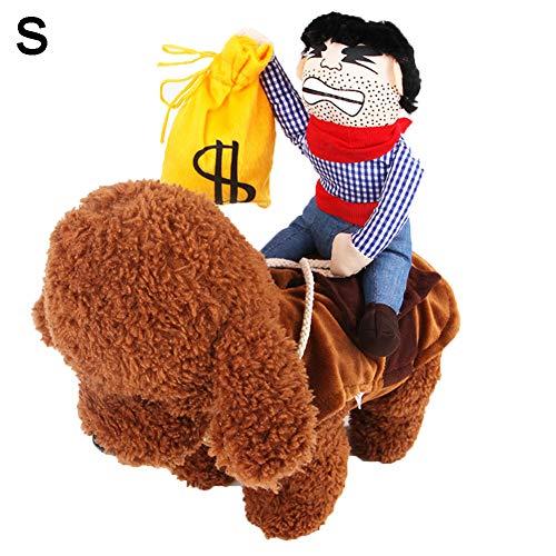 Kostüm Flanell Cowboy - 1Pc Funny Pet Cowboy-Kostüm Entzückende Halloween Cosplay Hunde-Kleidung Ritter Reitbekleidung Tierbedarf Bekleidung Outfit Für Hundekatze-Welpen, Hut
