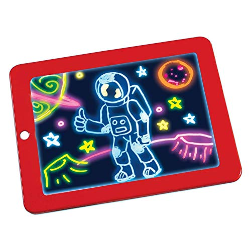 WOQZILINE Magic Sketch Drawing Pad | Light Up LED Glow Board | Draw, Sketch, Create, Doodle, Art, Write, Learning Tablet | Includes 3 Dual Side Markers, 30 Stencils and 8 Colorful Effects for Kids