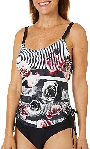 Fleet Street Ltd. Damen Swim TOP with SOLID Shoulder and Side Bottom Straps Bikinioberteil, Ebony Rose, 42 -
