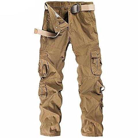 DRF Men's Retro Casual Cargo Trousers Chinos work wear #ABTW02 (34, Kaki)
