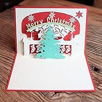 TOPmountain 3D papel creativo Surgir Saludo Tarjetas hechas a mano Feliz Navidad de la Navidad Postal del árbol Niños Niños