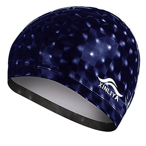Neeiors Mode Femme Homme étanche PU Bonnet de bain élastique Bain Swim Chapeau pour cheveux longs, bleu marine