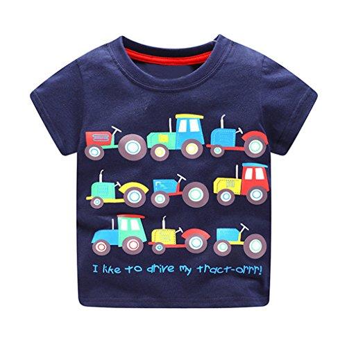 Bekleidung JYJMKleinkind Kinder Baby Jungen Kleidung Kurzarm Cartoon-Muster Tops T-Shirt Bluse (130, Dunkelblau) (Herren Hose Kleid Blend)