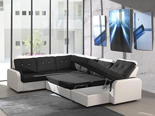 Ecksofa Bond3 mit Bettfunktion Schlaffunktion Wohnlandschaft Couch U-Form 01628 (Ottomane wie abgebildet, Farbänderung nach Wunsch) - 2
