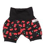 Lilakind Kurze Mädchen Pumphose Shorts Buxe Sommerhose Rockabilly Kirschen, Schwarz Rot, 86/92 cm