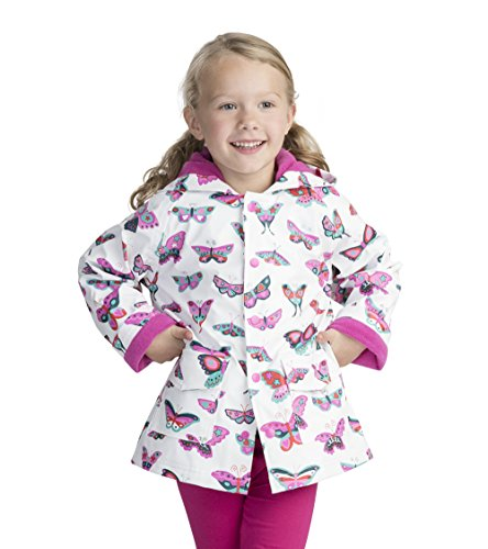 Hatley Girl's Printed Raincoat, White (Groovy Butterflies), 12 Years (Manufacturer Size: 12)