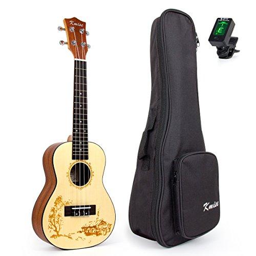 En-la-parte-superior-picea-macizas-Kmise-6096-cm-ukelele-Concert-de-guitarra-con-hawaiano-de-Incluye-bolsa-de-transporte-y-sintonizador-de-JOYO