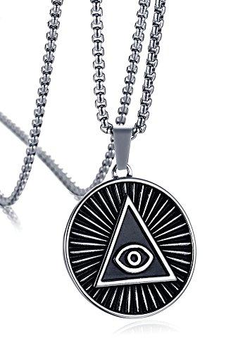 Vnox Herren Edelstahl Dreieck Alle sehen Auge von Gott Tempel Meister Halskette Retro Ägypter,freie Kette