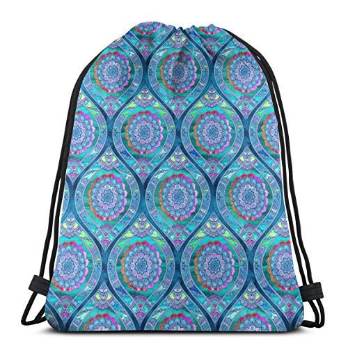 Radiant Boho Color Play - Tiny Ogees_1712 Rucksack mit Kordelzug Rucksack Umhängetaschen Leichte Sporttasche zum Wandern Yoga Gym Schwimmen Travel Beach