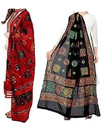 Sunrise Paridhan Women's Cotton Dupattas - OM01_Multicolour_Free Size - Pack of 2