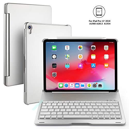 BECEMURU iPad Pro 11 Tastaturkoffer 7-Farben-Hintergrundbeleuchtung Drahtlose Bluetooth-Tastatur Muti-Angle Aluminiumlegierung Folio Protective Clamshell Case für 2018 iPad Pro 11 (Silbern) Clamshell Case