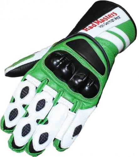Motorradhandschuhe Motorrad Biker Lederhandschuhe grün/weiß, Size:9=L