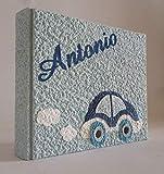 Album fotografico artigianale macchinina AUTOMOBILINA in carta luna con nome INTAGLIATO in tela personalizzabile regalo NASCITA BATTESIMO COMPLEANNO VACANZE BAMBINO