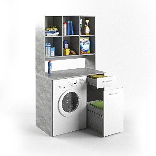 #VICCO Waschmaschinenschrank Kombination beton 185 x 103 x 60 cm – Badregal Hochschrank Waschmaschine Bad Schrank Badezimmerschrank (beton)#