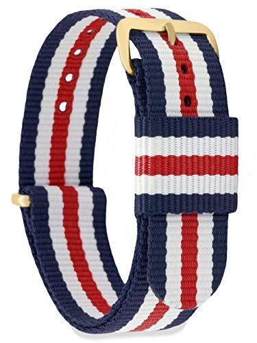 MOMENTO Damen Herren NATO Nylon Ersatz Uhren-Armband Strap mit Edelstahl-Schliesse in Gelb-Gold und Nylon-Armband in Blau Weiss Rot 14mm (Weiß, Blau, Armband Rot,)