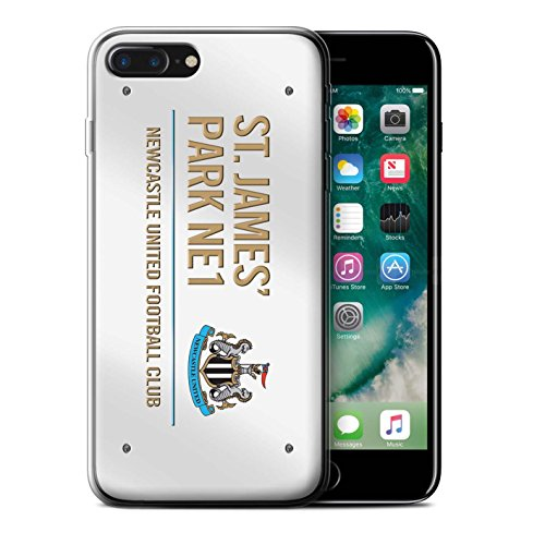 Offiziell Newcastle United FC Hülle / Gel TPU Case für Apple iPhone 7 Plus / Weiß/Blau Muster / St James Park Zeichen Kollektion Weiß/Gold
