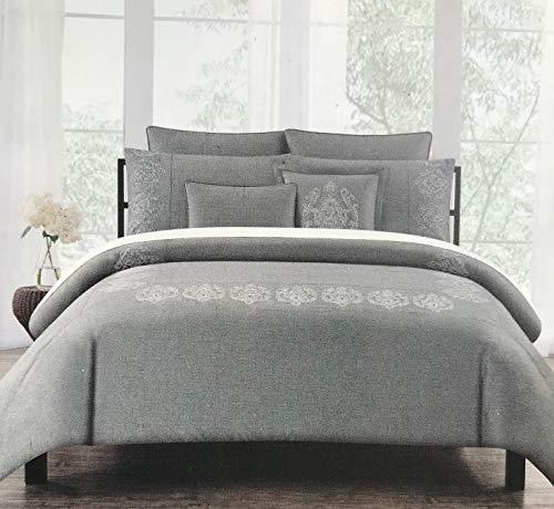 Tahari Home Bedding 3-teiliges Bettwäsche-Set für Voll-/Queen-Size-Betten, Metallic-Silber-Garn, Royal Stickerei, Paisley-Muster, auf dunkelgrauem Grund - Voll Queen Bettwäsche Set
