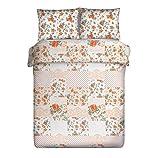 Bettwäsche 200x220 cm (+ 2 Kissenbezüge 70x80 cm) Baumwolle Set Emma 2 orange Cottage Patchwork+Muster 3tlg