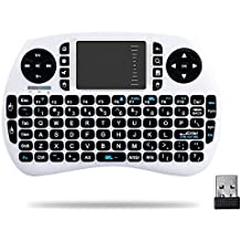 HORIZONTAL Mini 2.4Ghz Touchpad teclado inalámbrico con ratón para Google Android Tv Box, Pc, Pad, Xbox 360, PS3, Htpc, Iptv (Blanco)
