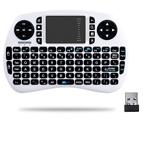 HORIZONTAL Mini 2.4Ghz Touchpad teclado inalámbrico con ratón para Google Android Tv Box, Pc, Pad, Xbox 360, PS3, Htpc, Iptv (Blanco)