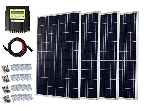 ECO-WORTHY 400Watt Solar System Starter Kit mit 4pcs 100w Solarmodul, 20A MPPT Ladegerät und Kabel