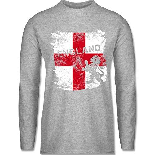 Shirtracer Fußball-WM 2018 - Russland - Englandflagge & Löwe Vintage - Herren Langarmshirt Grau Meliert